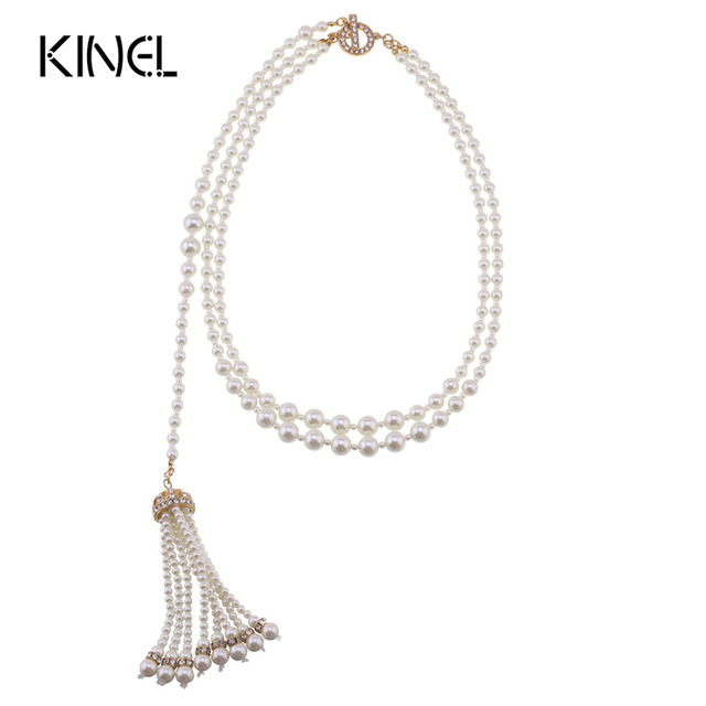 Kinel 2016 New Fashion Jewelry Pearl Tassel Pendant Necklace For Women Evening Gown Accessories Starry Rhinestone Necklace