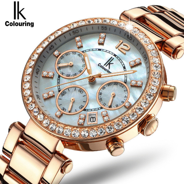 Ik Colouring Best Brand New Fashion Diamond Watch Women Multifunction Full Steel Jewelry Dress OL Women Watches kol saati 4442 все цены