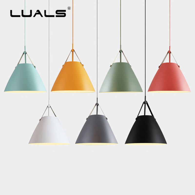 Nordic Hanging Lamps Leather Suspension Luminaire Modern Pendant Light Multicolor Lamp Shade Hanging Lights Indoor LED Lighting dia 72cm 75cm designer lighting etch shade suspension pendant lamps golden stainless steel shade pendant lights