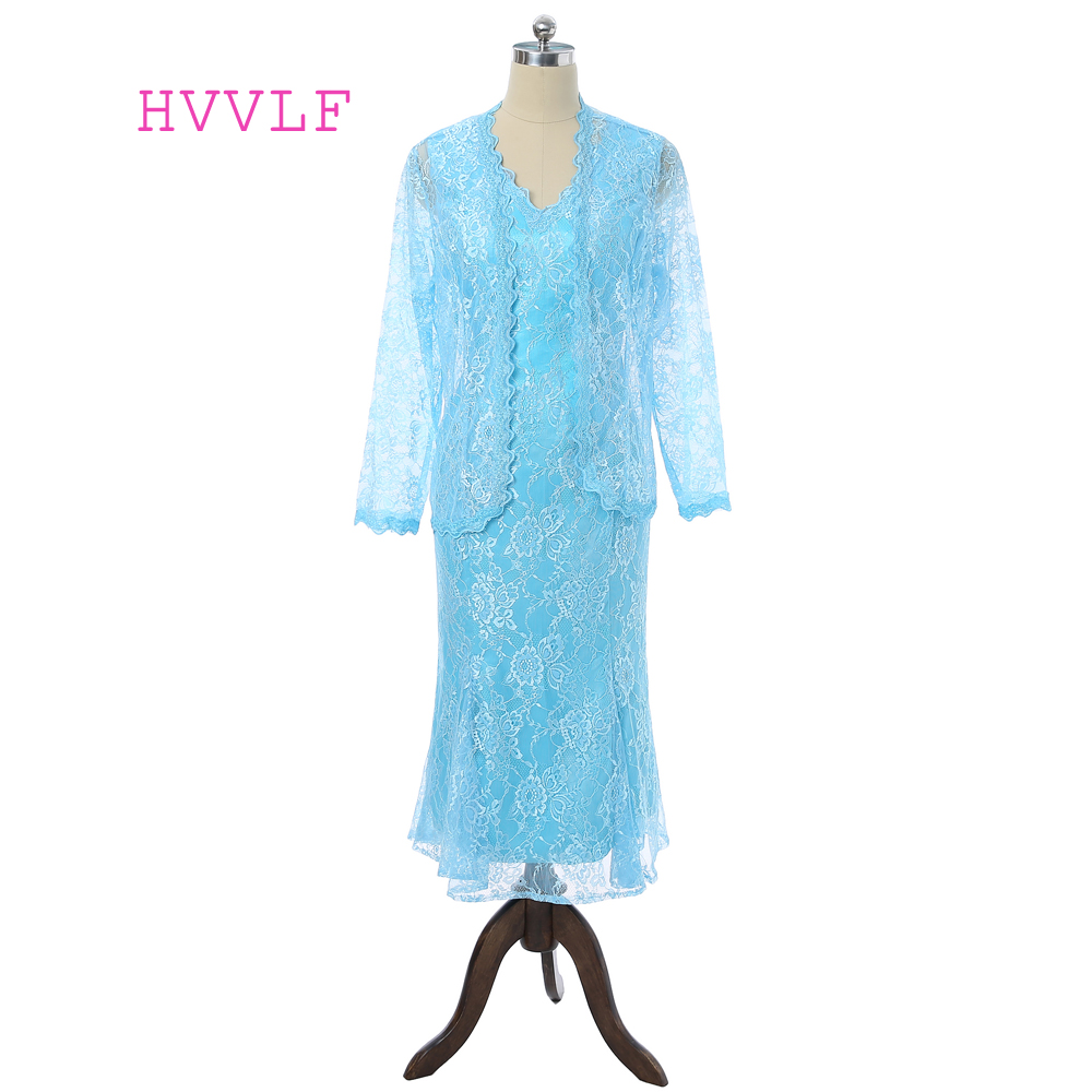 Turquoise 2019 Mother Of The Bride Dresses Mermaid Tea Length Lace With Jacket Plus Size Groom Mother Dresses For Weddings