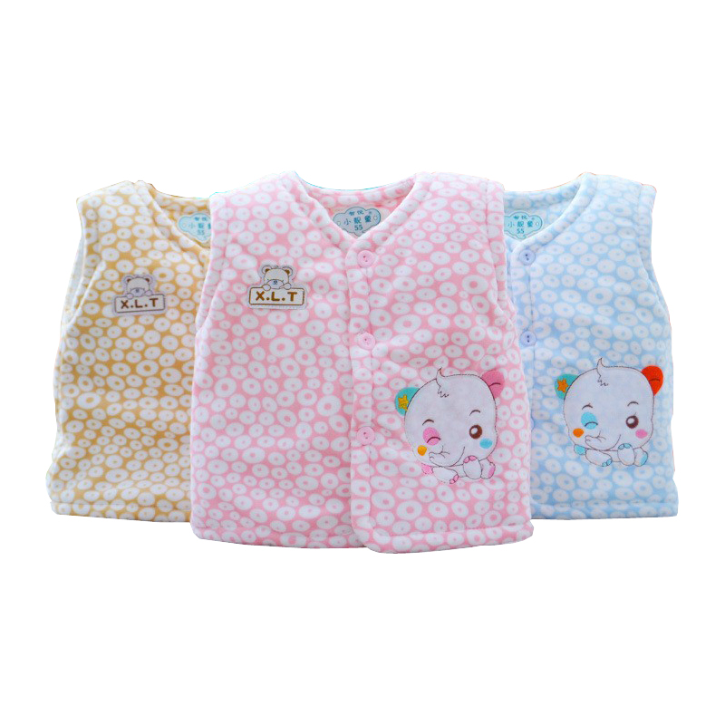 hot! free shipping 2018 winter Cartoon coral fleece baby warm open buckle vest