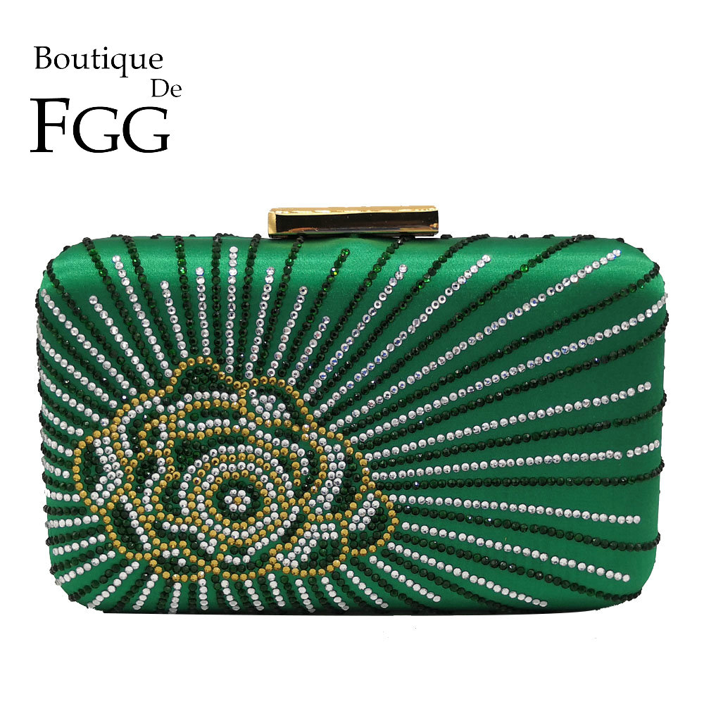 Boutique De FGG Green Flower Clutch Women Evening Bags Crystal Wedding Bag Party Cocktail Chain Shoulder Crossbody Handbag Purse