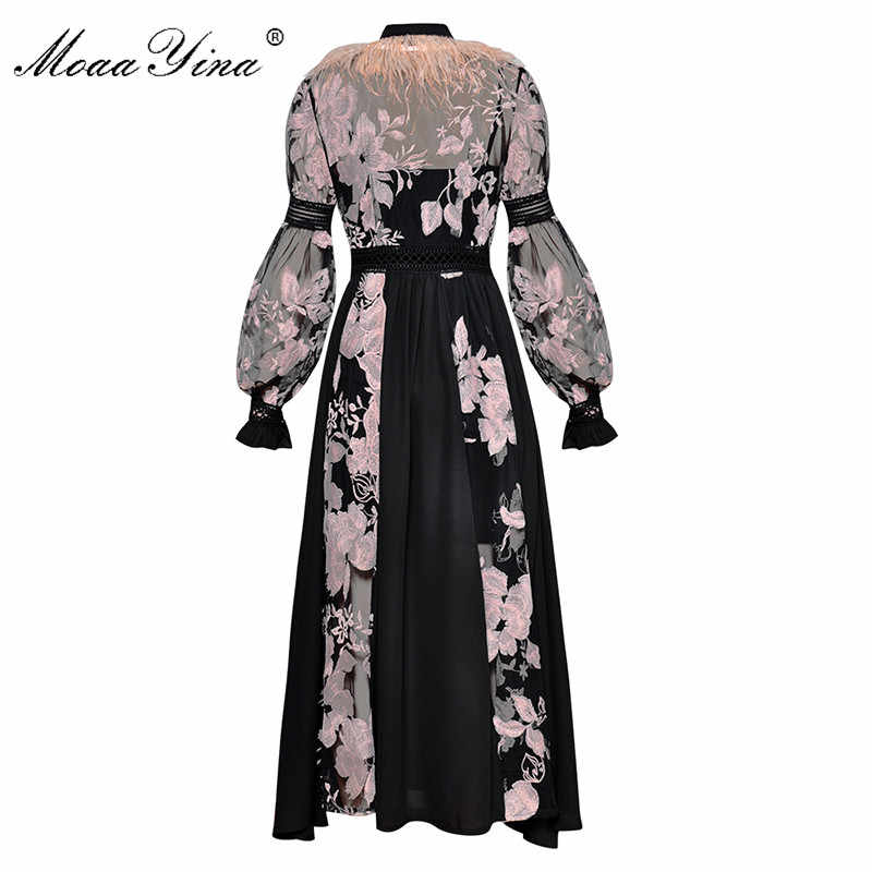 MoaaYina модное платье весна женские фонари рукав бант воротник перо Прозрачная сетка цветочные Вышитые пикантные вечерние длинные платья