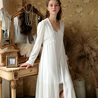 Autumn Princess Long White Women vintage Lace Night Gown Set Mesh Nightie Sexy ropa de dormir mujer ropa de dormir mujer