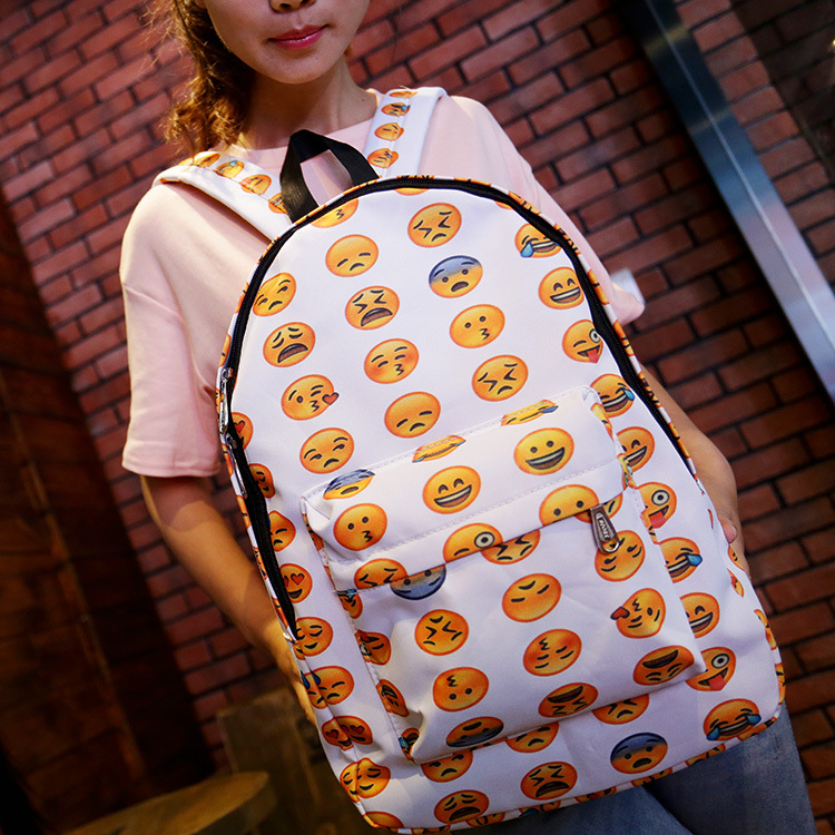 Free shipping EMOJI cartoo Japanese Harajuku Smiling face pattern Funny expression printing gift Backpacks Leisure bag schoolbag