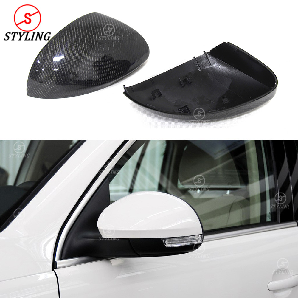 цена на Replacement Style For Volkswagen Tiguan Sharan Carbon Fiber Rear Side View caps Mirror Cover 2009 2010 2011 2012 2013 2014 2015