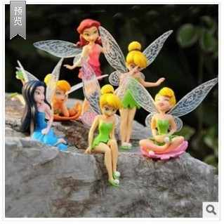 2016 high quality 6pcs/set Tinker Bell pretty doll figure Tinkerbell Fairy Gift For Children decoration toy 7-10cm Free Shipping