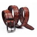 [Himunu] piel de Vaca pura Pin Hebilla del Cinturón de Los Hombres Del Diseñador de Lujo Hombre de La Correa Cinturones de Cocodrilo alinea la Moda para Los Hombres 2016 Nuevo
