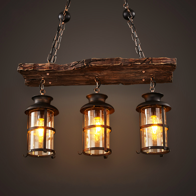 new original design retro industrial pendant lamp 3 head old boat wood american country style. Black Bedroom Furniture Sets. Home Design Ideas
