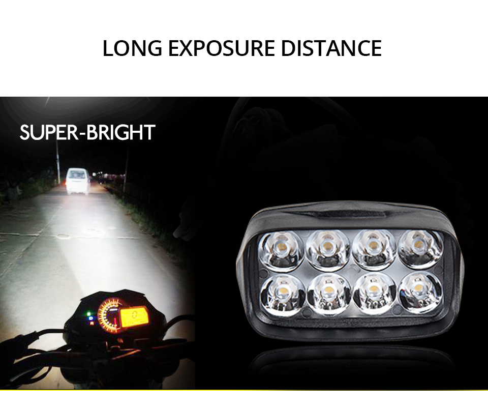 Universal Motorcycle Headlight LED 12W 18W 24W DC 9-85V LED Headlight Motorbike 8 12 16LEDs Samsung Chip Work LED Headlights  (5)