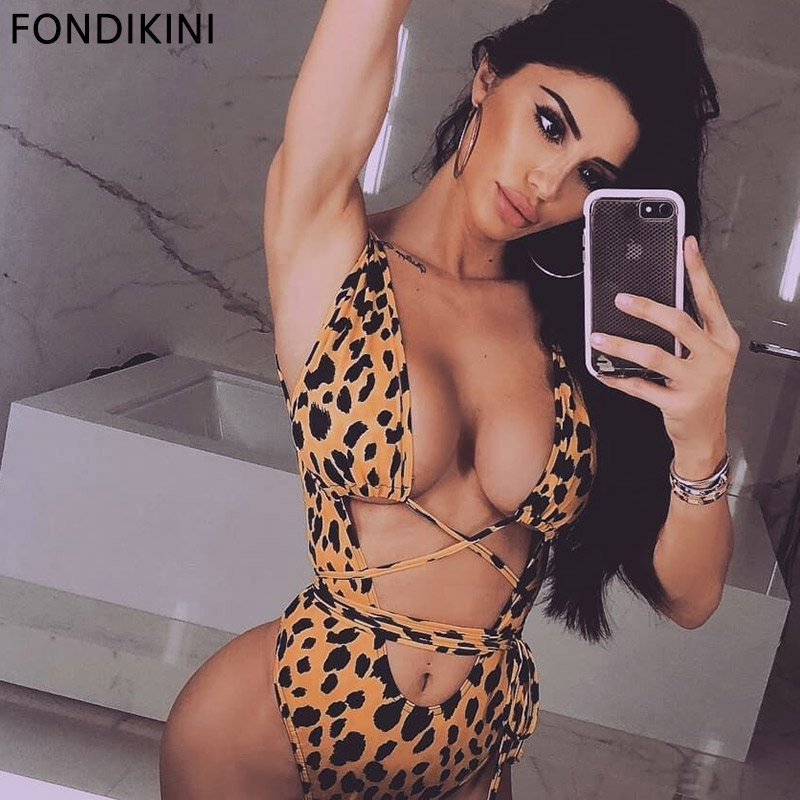2019 New Arrival Female Swimsuits Leopard Swimwear Bandage Hollow Bathing Suits Women One Piece Padded Backless
