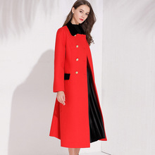 New 2018 Fall winter women elegant overcoat Chic double breasted slim fit Trench Coat D794