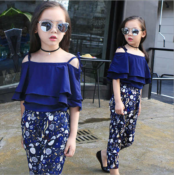 d40f019e45b4 Fashion Summer Girls Clothing Set 2019 Children Off Shoulder Tops Floral  Pants 2Pcs Kids Outfits Teen