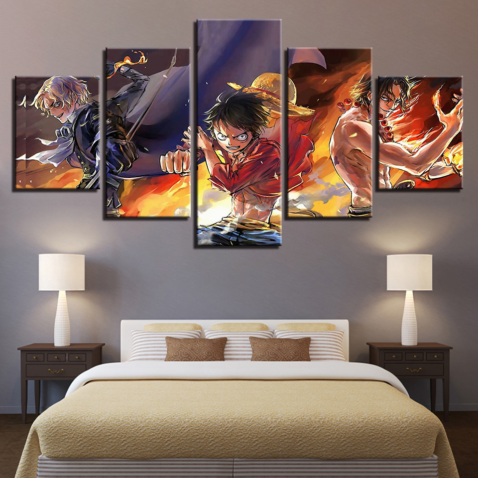 5 pieces canvas poster living room home decor one piece - Living room wall decor pictures ...