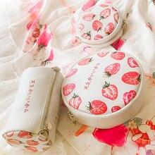 Angelatracy 2019 New Arrival Stawberry Red Bucket Lolita JapanFruit Cute Girl Sweet Lady Circular Messenger Bag Crossbody Bags цены