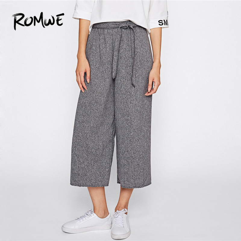 ROMWE Self Tie   Wide     Leg     Pants   Women Drawstring Belted Knot Trousers Autumn Plain Grey Mid Waist Casual Capris Female   Pants