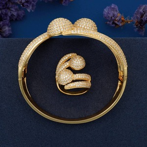 Image 4 - ModemAngel Luxury Big Ball Full Mirco Pave Cubic Zircon Gold Color Women Brand Bijoux Fashion Bangle Ring Sets Party