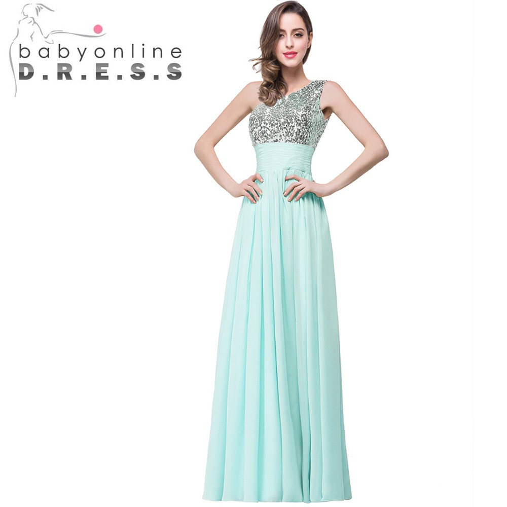 Sexy One Shoulder Champagne Mint Green Bridesmaid Dresses