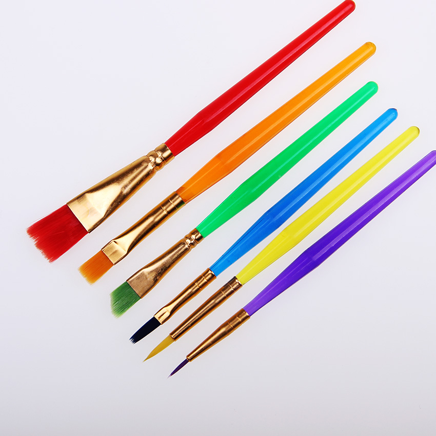 6 Pcs/Set Colorful Tip Flat Child Paint Brushe Plastic Handle Nylon Paint Brushes Set Drawing Art Supplies