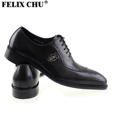 FELIX CHU 2017 Luxury Italian Genuine Leather Men Formal Wedding Brogue Dress Black Shoes Lace Up Party Office In Men's Flats