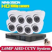 1080P 8CH AHD DVR HD font b CCTV b font Security Camera 8pcs indoor White Dome