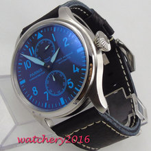 New arrive 47mm parnis BLack Dial Steel Case Blue mark Chronograph Power Reserve Luminous Leather Automatic movement mens Watch
