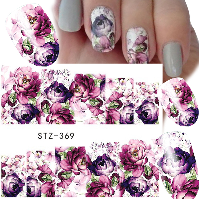 1 Sheets Water Transfer Women Full Cover Sticker Nail Art Decals Beauty Purple Rose