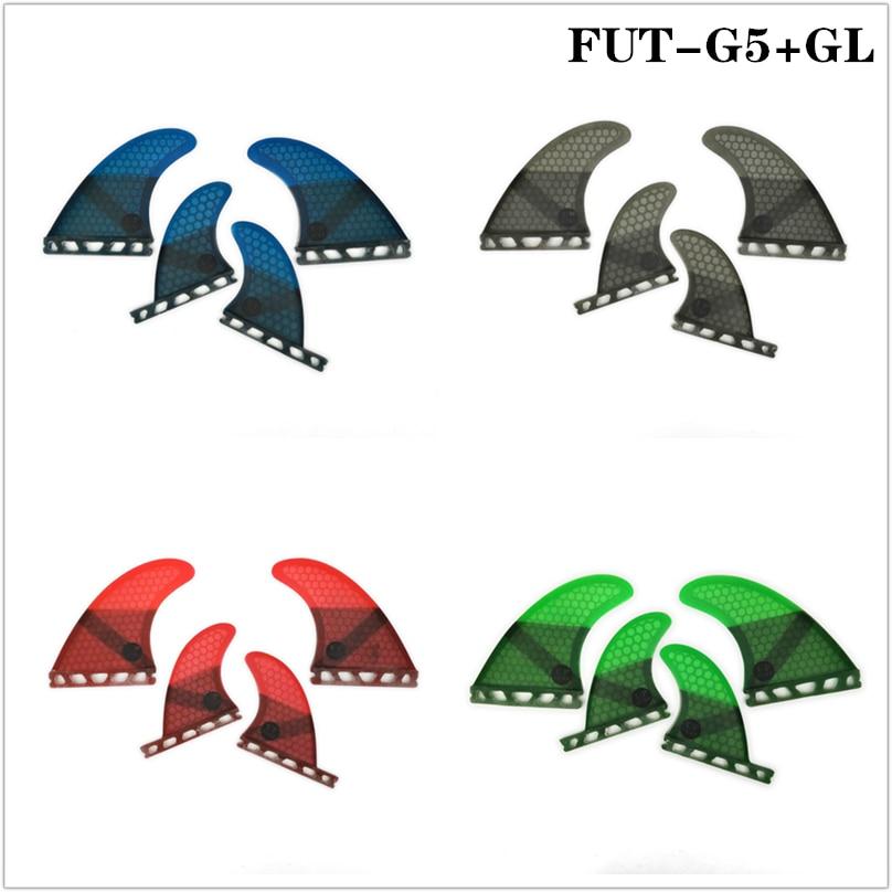 Future G5+GL Fins Quad-Fins Honeycomb Fiberglass Surfboard Fin 4 In Per Set 4 Colors