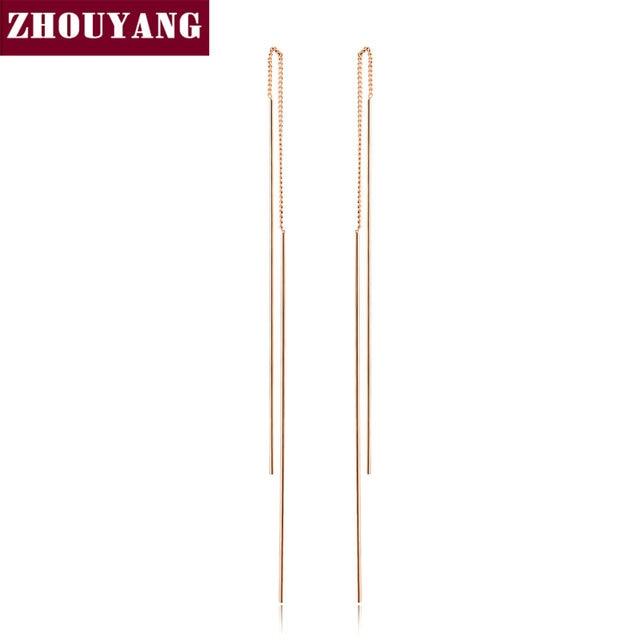 Top Kwaliteit Eenvoudige Oor Lijn Rose Goud Kleur Stud Oorbellen Sieraden Gemaakt met Echte Oostenrijkse Crystal Groothandel ZYE789 ZYE790