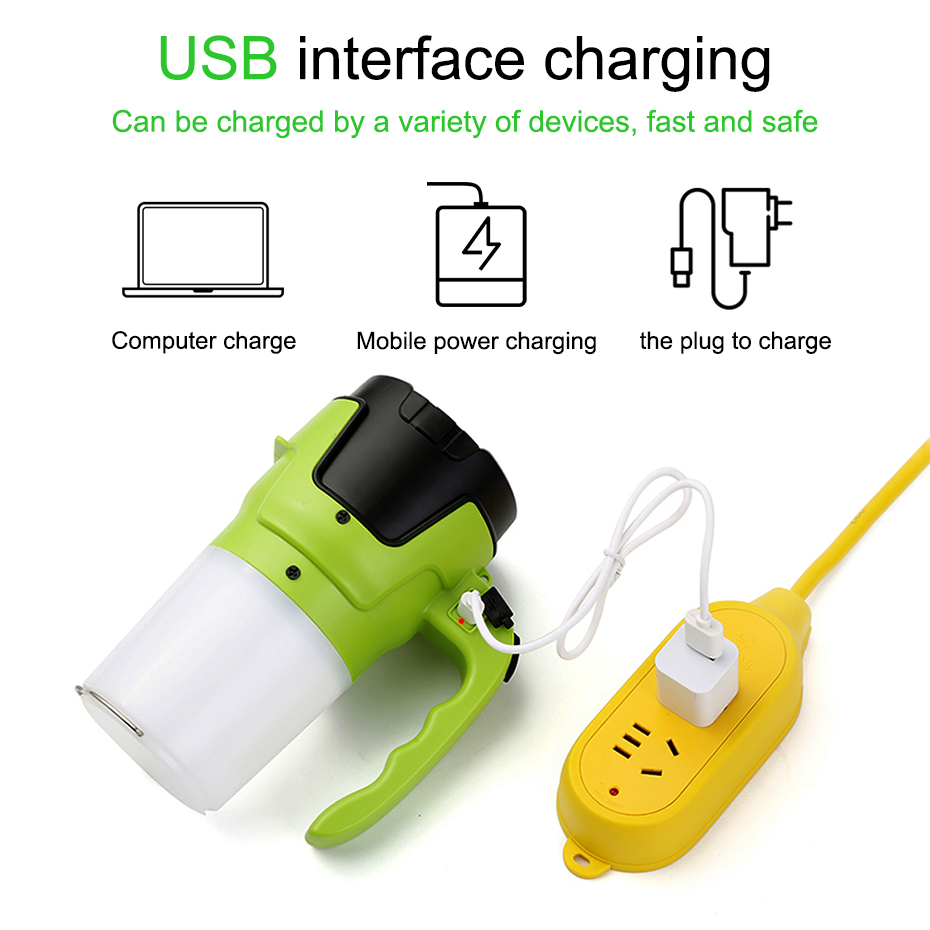 Handheld USB Rechargeable LED Flashlight Spotlight Lantern Portable Rechargeable LED Flood Light Outdoor Camping Tent Light