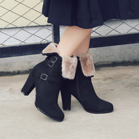 2018 New Winter Snow Boots Platform Women Shoes Plush Ankle Boots Black High Heels Platform Ladies