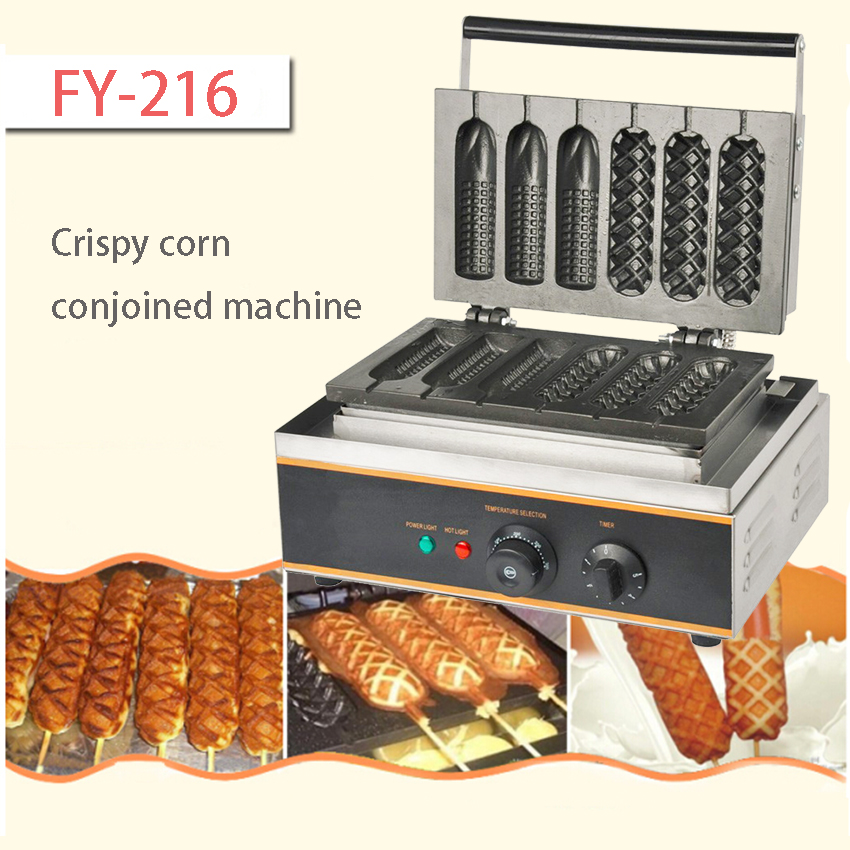 1PC  FY-216 Six pieces Commercial corn waffle maker  rench muffin hot dog making machine Crispy corn conjoined machine electric muffin corn dog waffle making machine lolly hot dog waffle machine