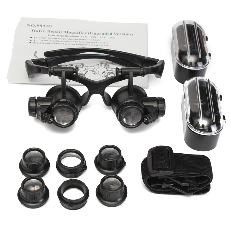 Brand New 10X 15X 20X 25X LED Double Eye Jeweler Watch Repair Magnifier Glasses Loupe Lens Watch Repair Tool