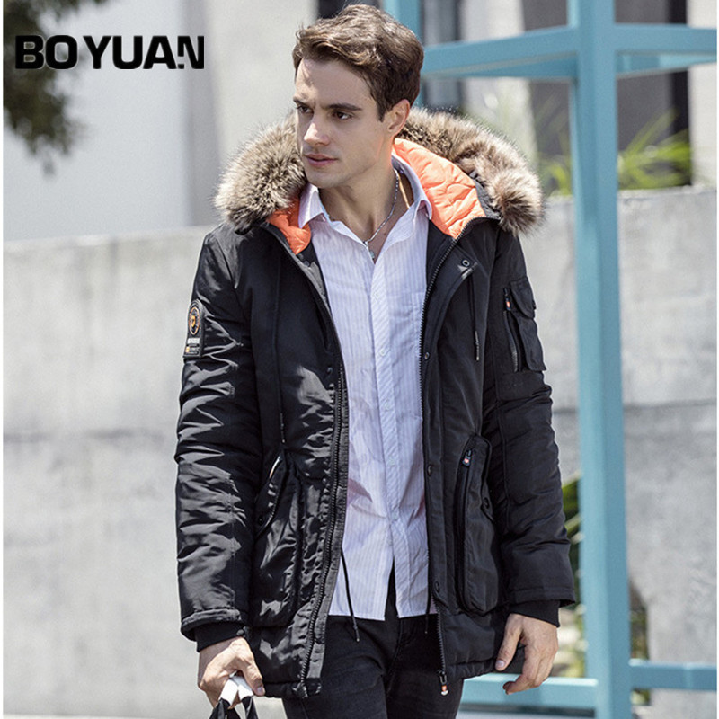 BOYUAN Mens Winter Jackets Men Parka Fur Hooded Jackets Thick Long Casual Warm Coat 2017 Winter Jacket Men Solid Parkas DSW2520 clothing mens winter jackets coat warm men s jacket casual outerwear business medium long coat men parka hooded plus size xxxl