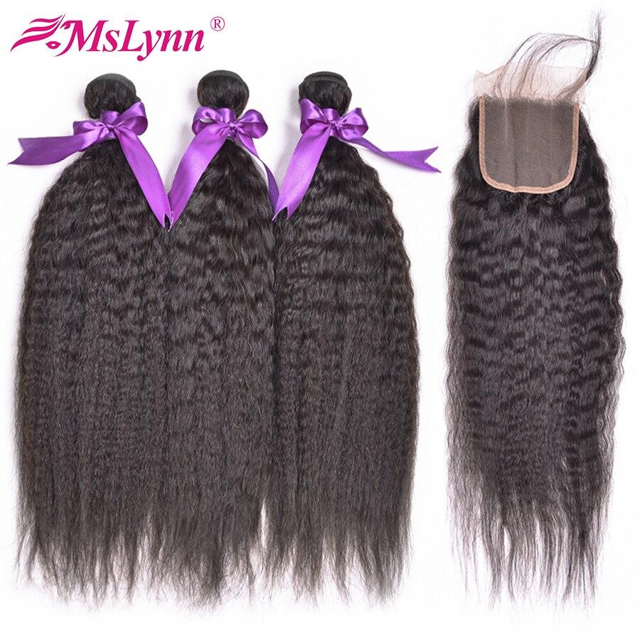 Mslynn 3 zestawy z zamknięcia człowieka wiązki włosów wiązki z zamknięciem perwersyjne pasma prostych włosów indyjski włosy z zamknięciem nie Remy w 3/4 pasma z siateczką od Przedłużanie włosów i peruki na AliExpress - 11.11_Double 11Singles' Day 1
