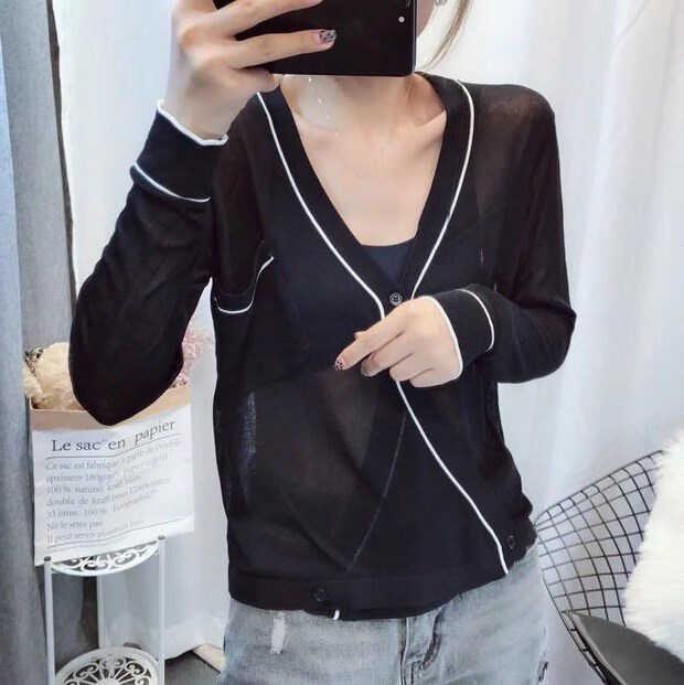 Осень 2019 мода весна лето тонкий черный белый вязаный кардиган для женщин с v-образным вырезом сексуальный свитер кардиганы, Пальто Feminino