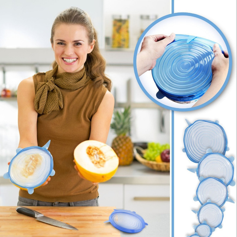6pcs/set Silicone Lid Spill Stopper Cover Universal Silicone Suction Lid-bowl Pan Kitchen Tools Pan Lids Cover Stoppers Tools
