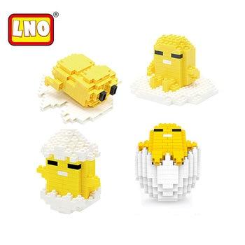 LNO nanoblocos gudetama figuras de ação anime 3d gema modelo de filme japonês dos desenhos animados tijolos de construção de plástico Jogo brinquedos para criança.  детали конструктора лего