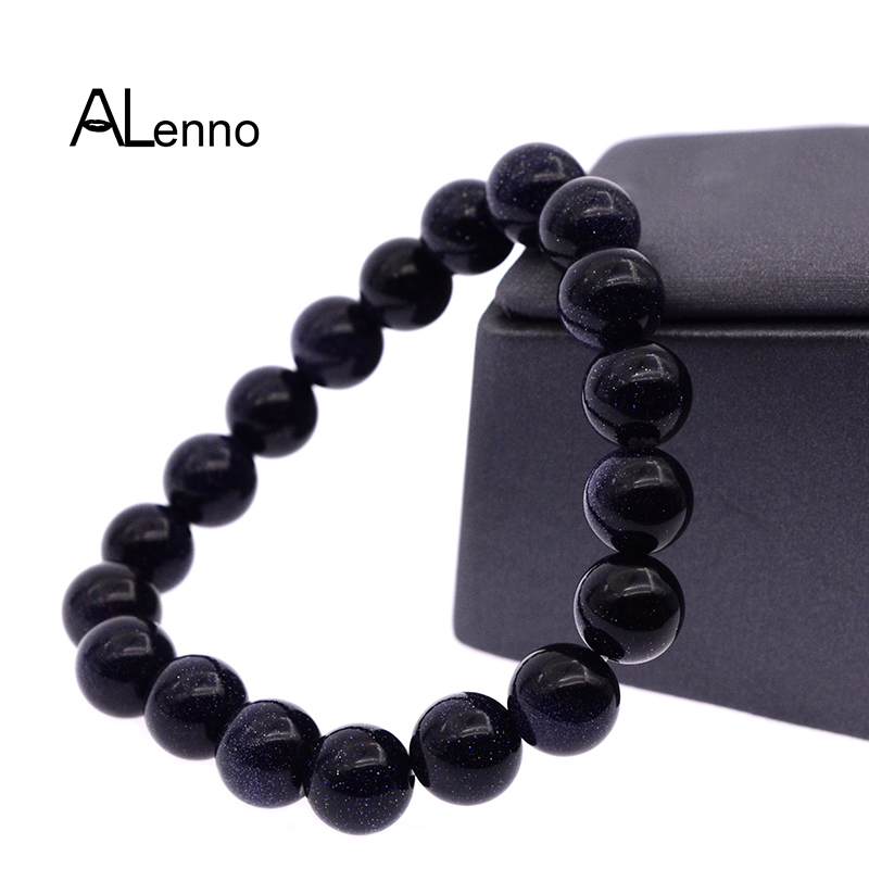 ALenno 10mm Natural Blue Sand Stone Beads Strand Charms Bracelets For Women Men Fashion Elatic Rope Bijou Bangle Jewelry Gifts