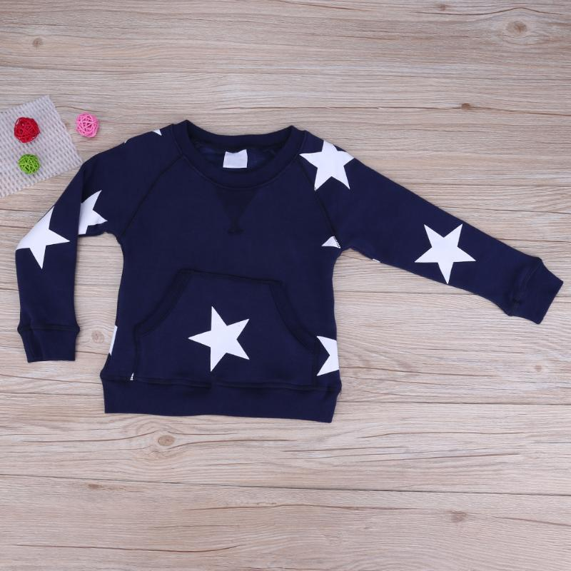 chinatera Boys Clothes White Star Printed Pocket Pullover Fleece Leisure Concise Sweatershirt Children Clothing Kid Clothes Boy