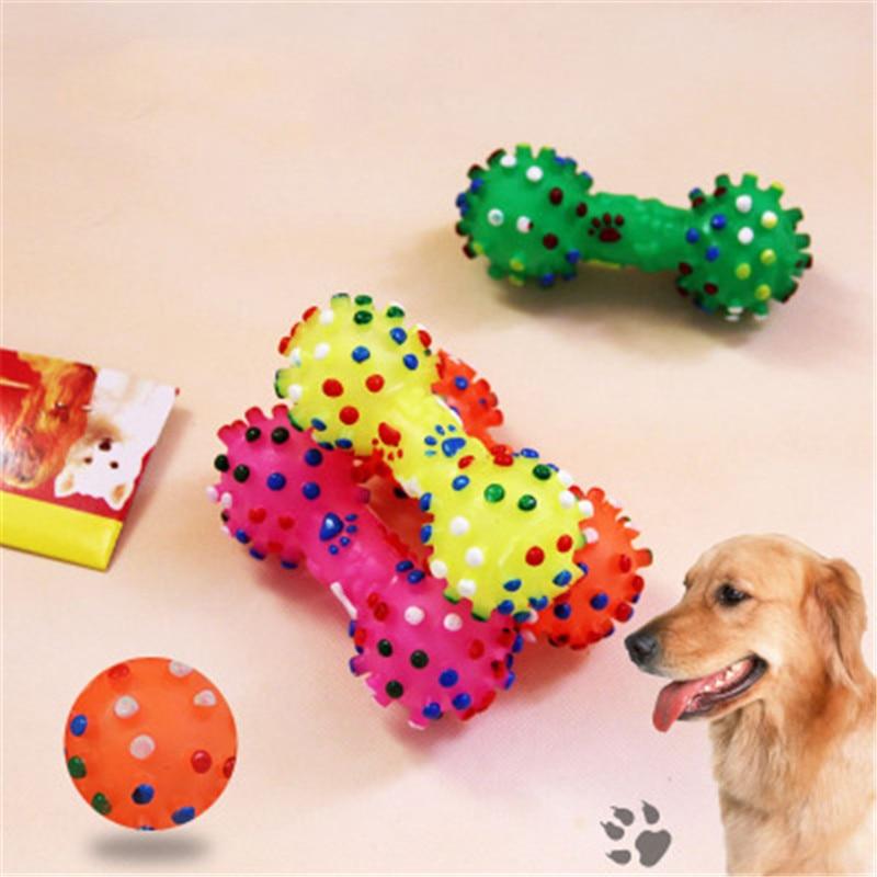 1pcs Fashion Soft Rubber Bone Squeaky Toys font b Pet b font Dog Chew Toy Colorful