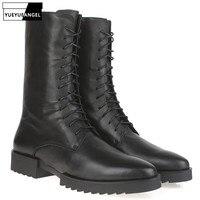100% натуральная кожа ботинки мужские модные на платформе высокие рыцарские сапоги осень зима ретро молния острый носок высокие botas hombre черны