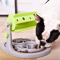 Puppy IQ Training Toy Pet Dog Toy Slow Eating Automatic Roller Feeder with Base Pet Non toxic Toy Roller Leaking Food Device