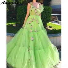 Luz Verde Vestidos de Baile 2019 Com Decote Em V Flores Straps Tulle Partido Maxys Longo Partido Prom Vestido de Noite Vestidos De Robe De Soirée