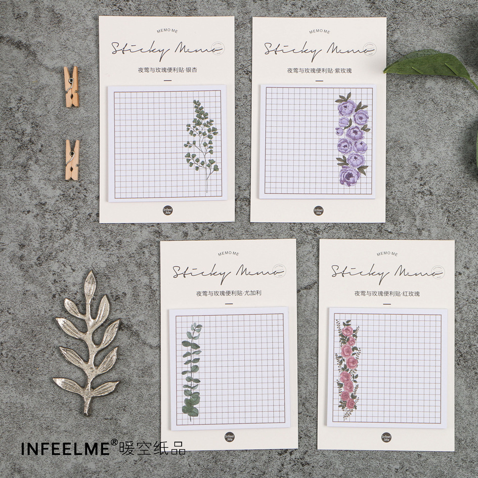 AC01 30 pages/pack Romantic Rose Flower Grids Memo Pads Sticky Notes Planner Writing Sticker Student Stationery Notepad chick sticky memo pads 18sheets