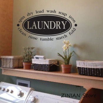 Laundry Room Decor Wall Stickers Laundry Seal Collage Vinyl Decal Wash Spin Dry Fold Soap Iron Wall Decals Waterproof Mural Z075