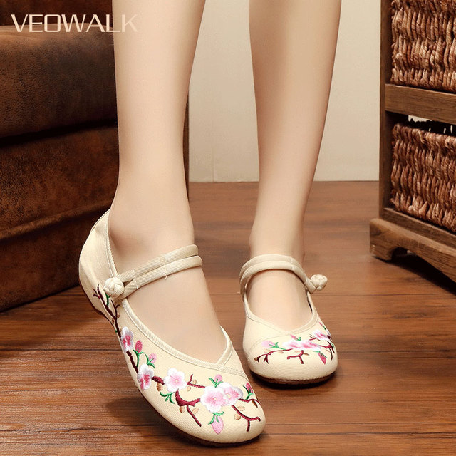 Womens Beijing Fabric Mothers Driving Shoes Pump Wedge Buckle Chinese Strap Soft