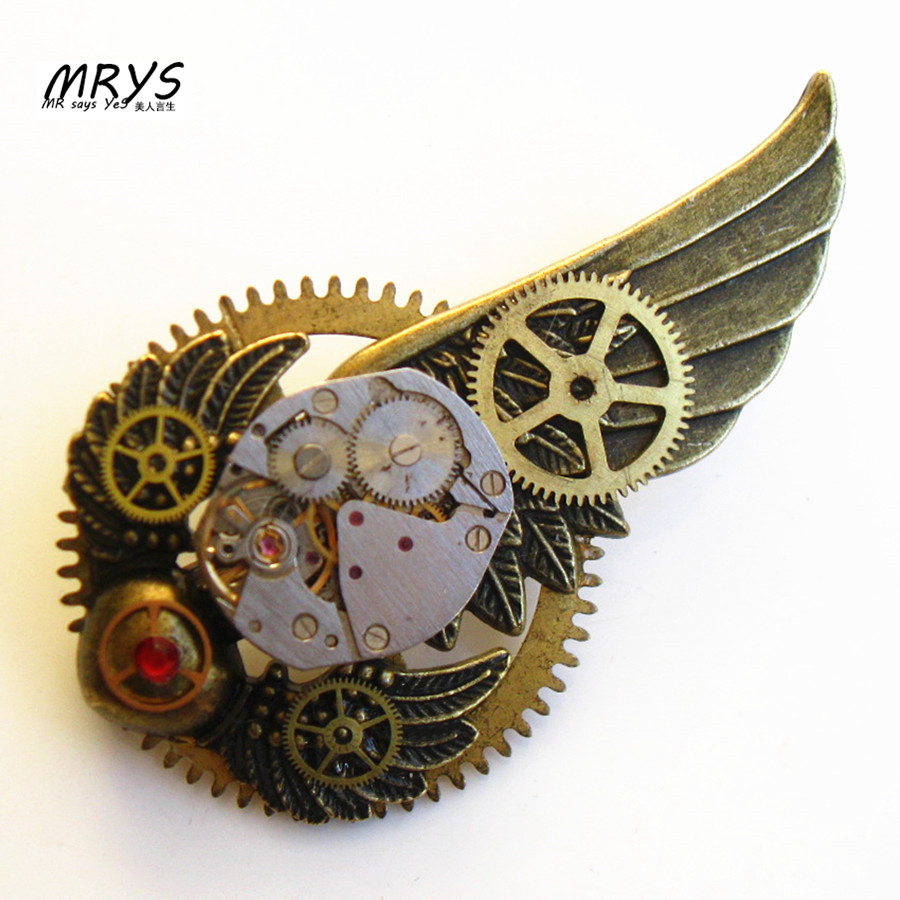steampunk gothic punk wings heart watch movements parts gears brooch pins badge men women girls boys jewelry christmas party new casual layered heart wings watch
