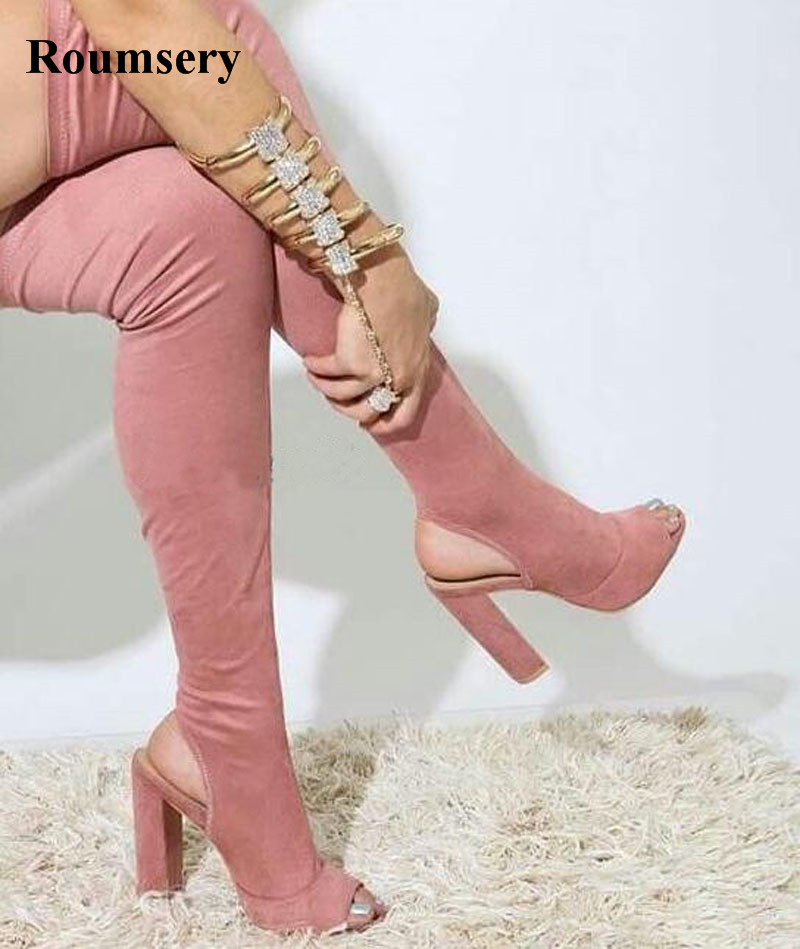 New Arrival Women Fashion Open Toe Suede Leather Over Knee Slim Long Boots Cut-out Thick Heel Thigh High Heel Boots Dress Shoes цена