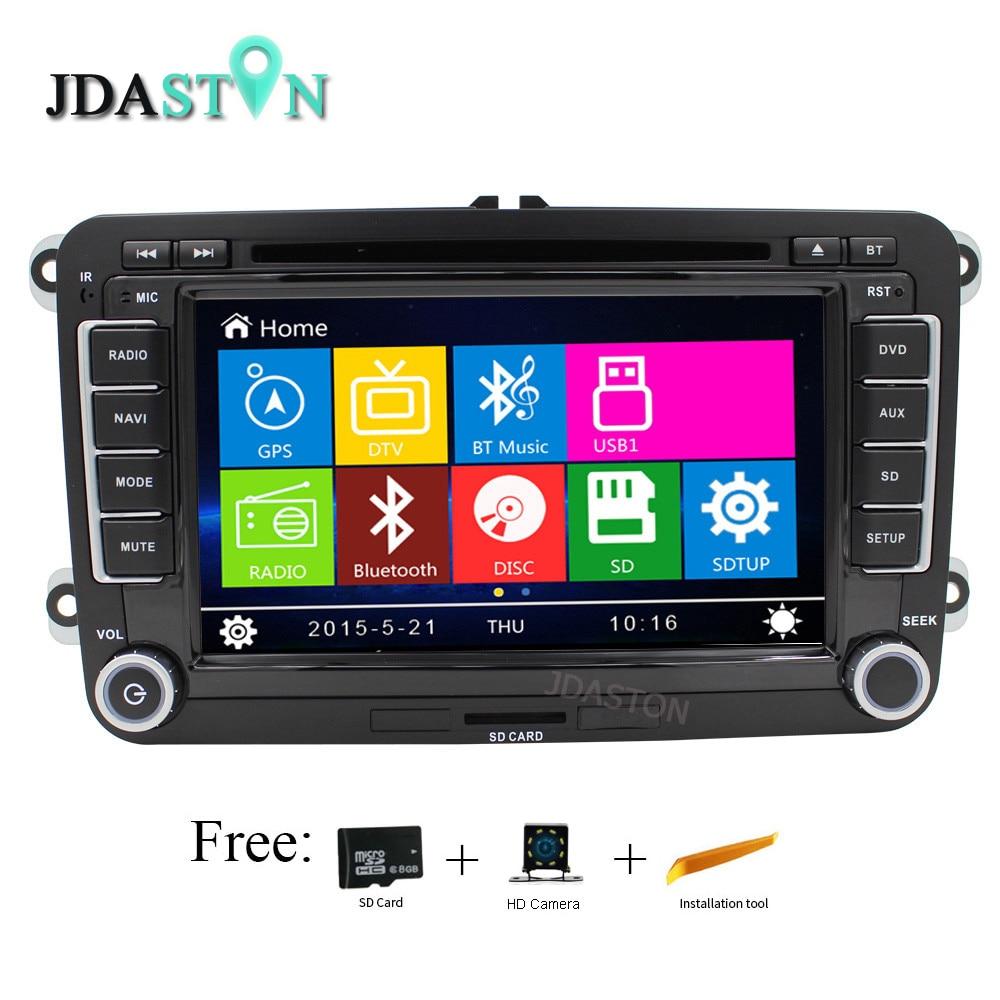 JDASTON Wince Lecteur DVD de Voiture Pour VW VolksWagen Jetta Sagitar Caddy Touran madotan Bluetooth Radio RDS GPS Navigation Répertoire